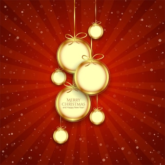 Realistic hanging shiny christmas balls decoration   vector