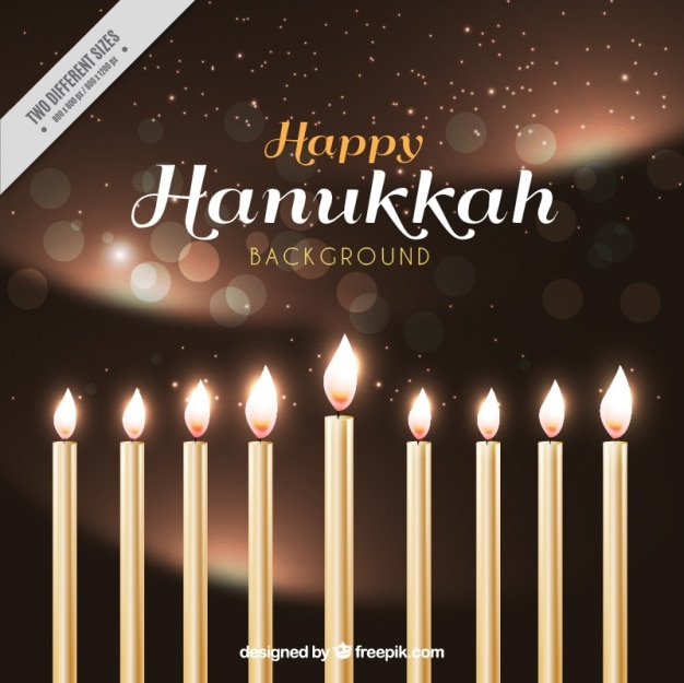 Realistic hanukkah background with candles and bokeh effect