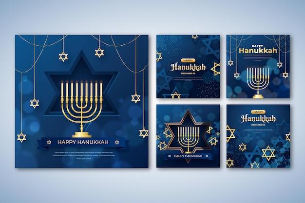 Raccolta realistica di post su instagram di hanukkah