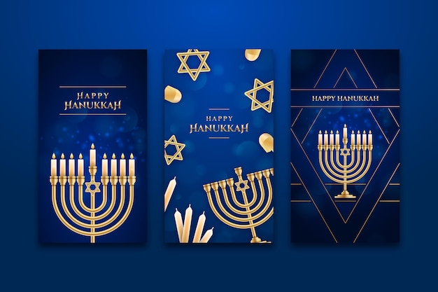 Raccolta realistica di storie di instagram di hanukkah