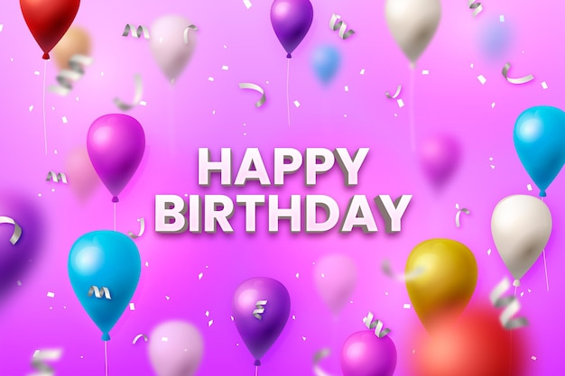 Realistic happy birthday background Premium Vector