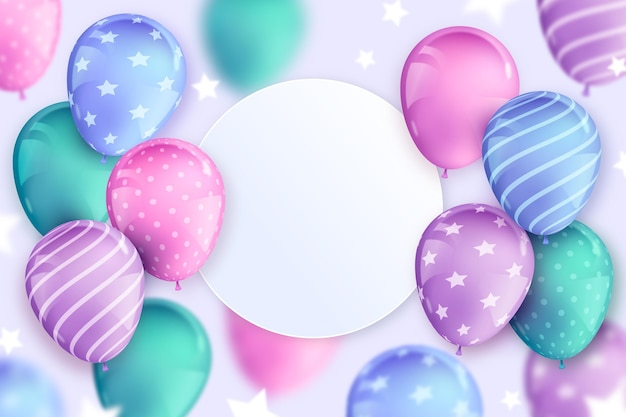 Realistic happy birthday balloons background copy space