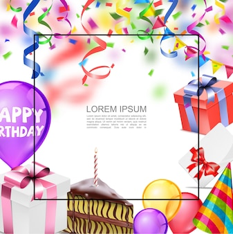 Realistic happy birthday card template with frame for text colorful balloons confetti garland present boxes party hat invitation card piece of cake  illustration,