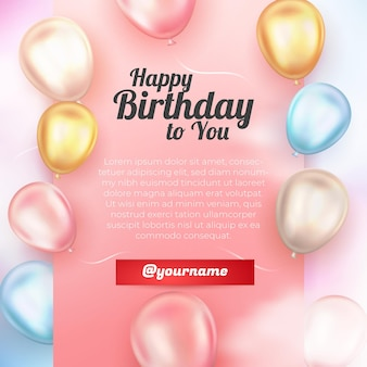 Realistic happy birthday greeting card with 3d ballon colorfull sky background social media template Premium Vector