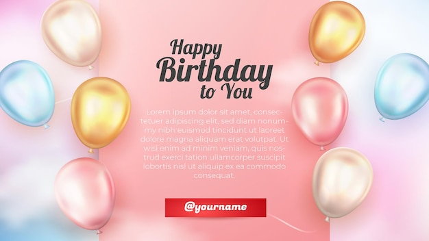 Realistic happy birthday greeting card with 3d gold pink and white ballon colorfull sky background