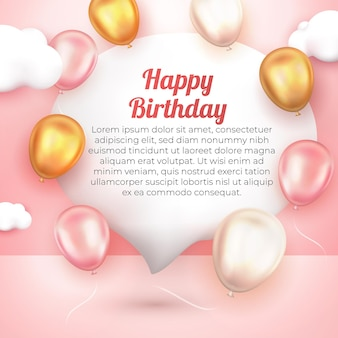 Realistic happy birthday greeting card with 3d gold pink and white ballon social media template flyer