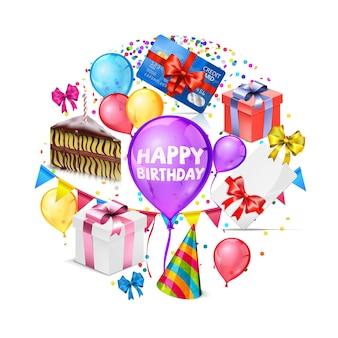 Реалистичная поздравительная открытка с днем рождения с разноцветными воздушными шарами, бантами, подарочными коробками, кусок торта, шляпа, конфетти