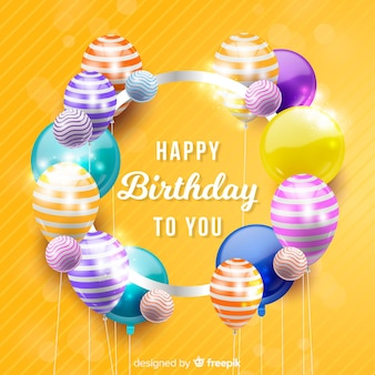 Realistic happy birthday party background