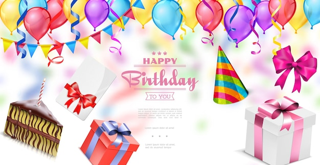 Realistic, happy birthday template with colorful balloons garland confetti invitation card bows present boxes piece of cake party hat illustration