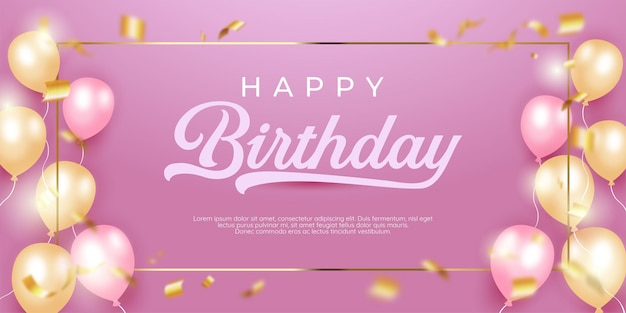 Realistic happy birthday with square golden frame