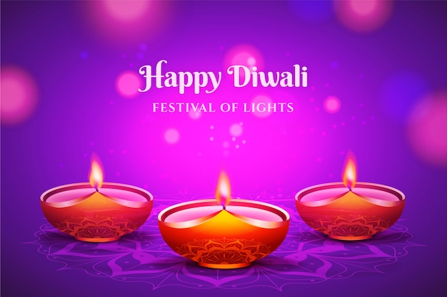Realistic happy diwali background