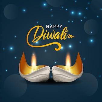 Realistic happy diwali celebration greeting card with creative diwali diya