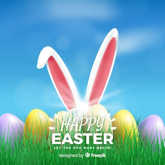 Realistic happy easter day background