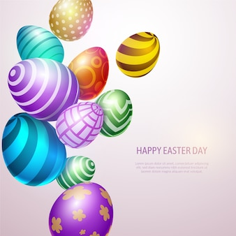 Realistic happy easter day concept