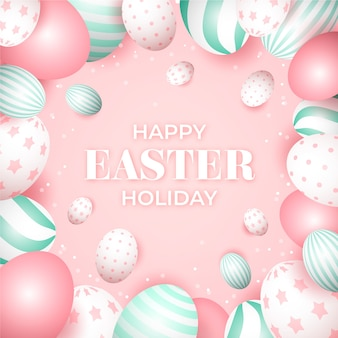 Realistic happy easter day design