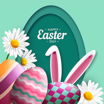 Realistic happy easter day eggs and bunny ears