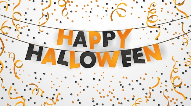 Realistic happy halloween poster with hanging letters and orange confetti.
