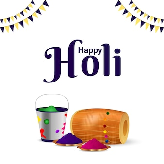 Realistic happy holi design concept and background