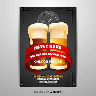 Realistic happy hour poster template