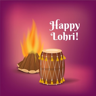 Realistic happy lohri bonfire