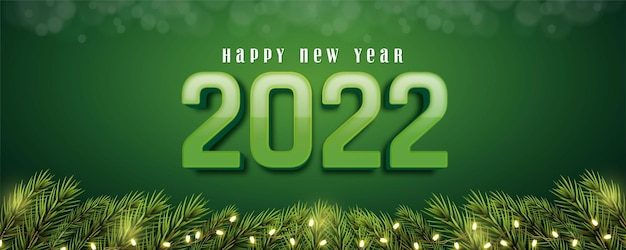 Realistic happy new year 2022 editable 3d style effect with decorative lights