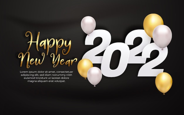Realistic happy new year 2022 white gold balloon with editable text effect