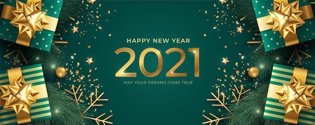 Banner realistico di felice anno nuovo con doni verdi e dorati