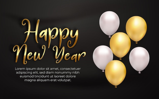 Realistic happy new year white gold balloon with editable text effect