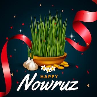 Realistic happy nowruz concept