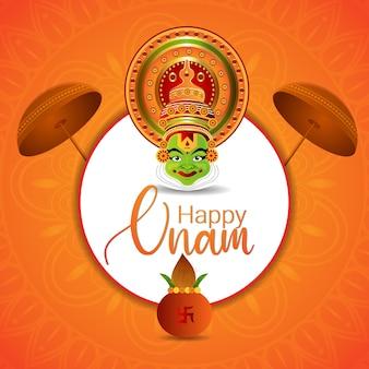 Realistic happy onam festival card