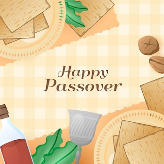 Realistic happy passover lettering with food