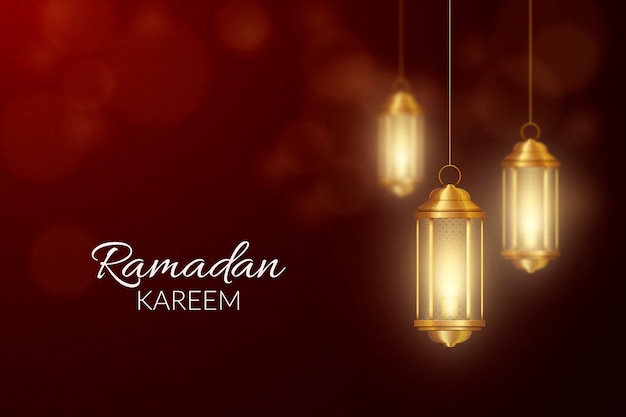 Realistic happy ramadan kareem with candles