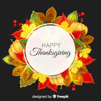Realistic happy thanksgiving background with autumn elements