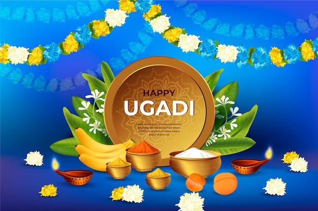 Realistic happy ugadi festival concept