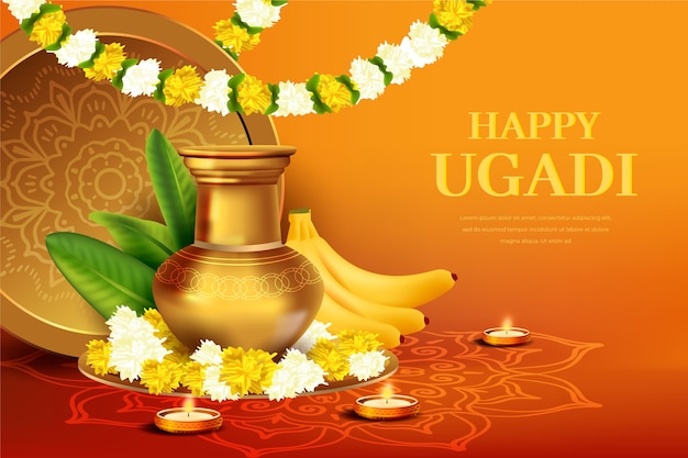 Realistic happy ugadi festival design