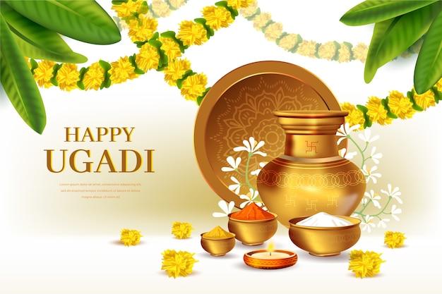 Realistic happy ugadi festival