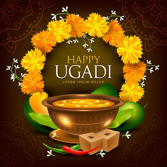 Realistic happy ugadi