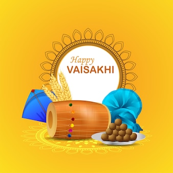 Realistic happy vaisakhi greeting card with dhol and kite