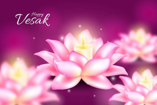 Realistic happy vesak day