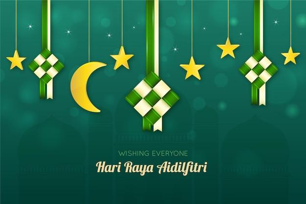 Realistic hari raya aidalfitri moon and stars