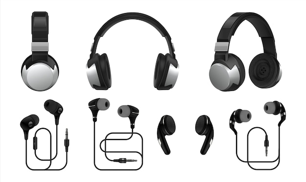 Realistic headphones illustration