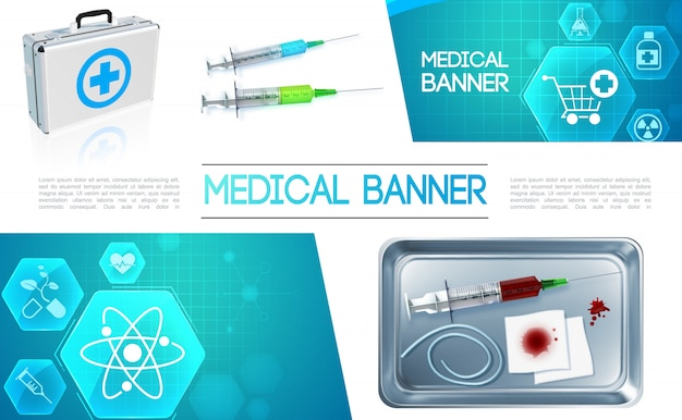 Realistic healthcare colorful composition with medical box syringe bloody bandage in metal sterilizer and medicine icons