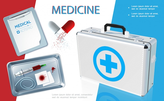 Realistic healthcare template with medical kit notepad broken capsule syringe bloody bandage tourniquet in sterilizer