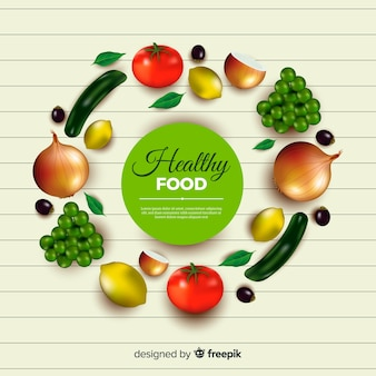 Realistic healthy food background