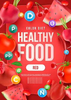 Realistic healthy food poster template