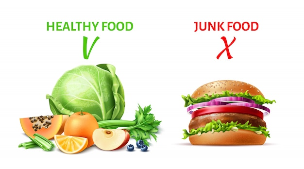 Realistic healthy and junk food concept