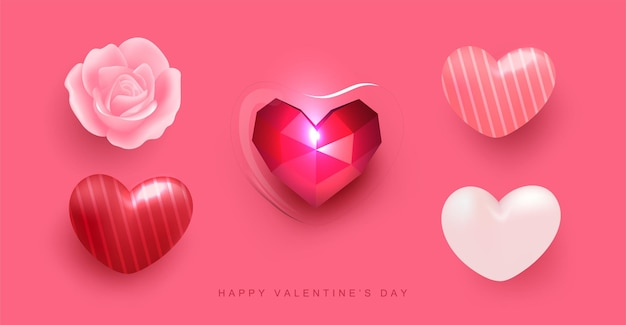 Realistic heart balloon with pattern, rose flower and polygon heart in glas