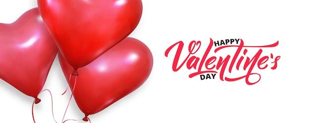 Realistic heart balloons flying on white banner background