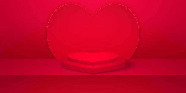 赤い空のスタジオルームのハートの背景とバレンタインデーのモックアップと現実的なハートの形の表彰台