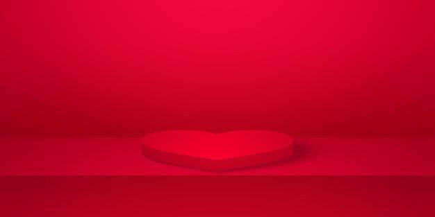 빨간색 빈 스튜디오 룸 제품 배경이 있는 현실적인 심장 모양 연단은 발렌타인을 위해 조롱합니다.